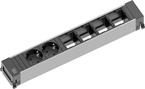Power Frame Steckdose 6-fach 2/4C